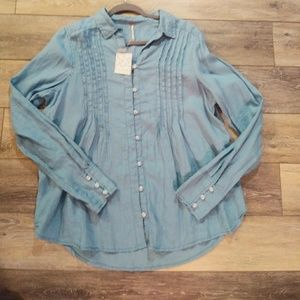 NWT Free people blue long sleeve button shirt